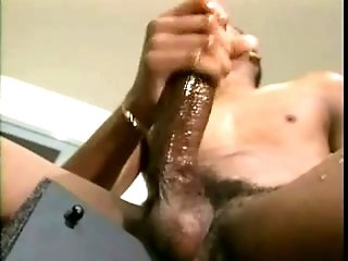 Muscular Black Gay And His Buddy Play With Their Schlongs Indoors
