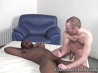 Black Gay Stud Moans With Pleasure While Getting His Dick Rubbed