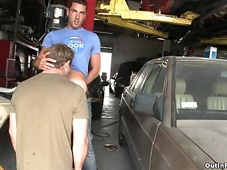 Blond Gay Gets His Hairy Ass Smashed By His Bf In A Garage